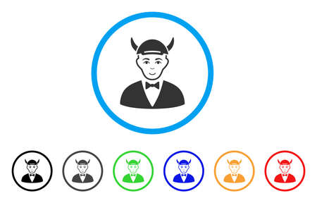 Devil rounded icon. Style is a flat devil gray symbol inside light blue circle with black, gray, green, blue, red, orange color versions. Enjoy devil vector icon. Person face has joy emotion.