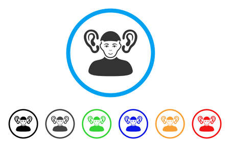 Listener Guy rounded icon. Style is a flat listener guy grey symbol inside light blue circle with black, gray, green, blue, red, orange variants. Glad listener guy vector icon.