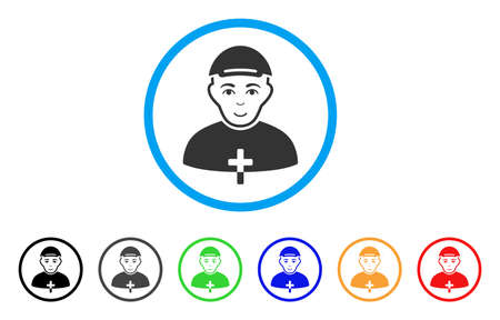 Priest rounded icon. Style is a flat priest gray symbol inside light blue circle with black, gray, green, blue, red, orange variants. Positive priest vector pictograph.