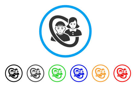 Ringed People Pair rounded icon. Style is a flat ringed people pair grey symbol inside light blue circle with black, gray, green, blue, red, orange color versions. Ilustração