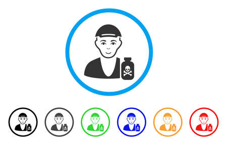 Toxic Dealer rounded icon. Style is a flat toxic dealer gray symbol inside light blue circle with black, gray, green, blue, red, orange color versions. Glad toxic dealer vector icon.