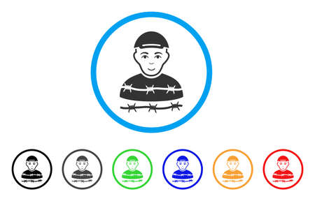 Camp Prisoner rounded icon. Style is a flat camp prisoner grey symbol inside light blue circle with black, gray, green, blue, red, orange color versions. Glad camp prisoner vector pictograph.