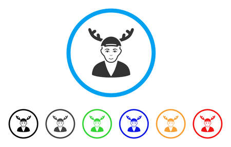 Horned Boyfriend rounded icon. Style is a flat horned boyfriend gray symbol inside light blue circle with black, gray, green, blue, red, orange variants. Glad horned boyfriend vector pictogram.