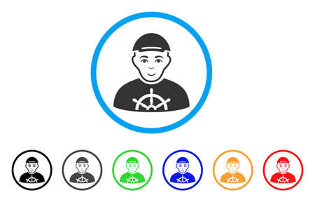 Captain rounded icon. Style is a flat captain gray symbol inside light blue circle with black, gray, green, blue, red, orange versions. Positive captain vector icon. Person face has smiling emotion. Çizim