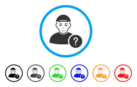 User Query rounded icon. Style is a flat user query gray symbol inside light blue circle with black, gray, green, blue, red, orange versions. Enjoy user query vector pictogram. Illustration