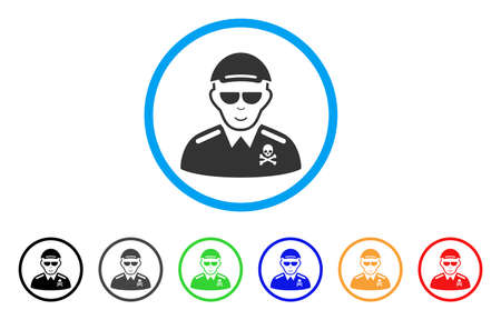 Deadly Officer rounded icon. Style is a flat deadly officer gray symbol inside light blue circle with black, gray, green, blue, red, orange variants. Happy deadly officer vector icon.