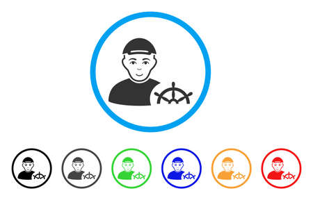 Captain rounded icon. Style is a flat captain grey symbol inside light blue circle with black, gray, green, blue, red, orange versions. Enjoy captain vector icon. Guy face has enjoy expression. Çizim