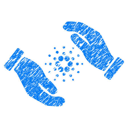 Grunge Cardano Care Hands rubber seal stamp watermark. Icon symbol with grunge design and dust texture. Unclean vector blue sign. Illustration