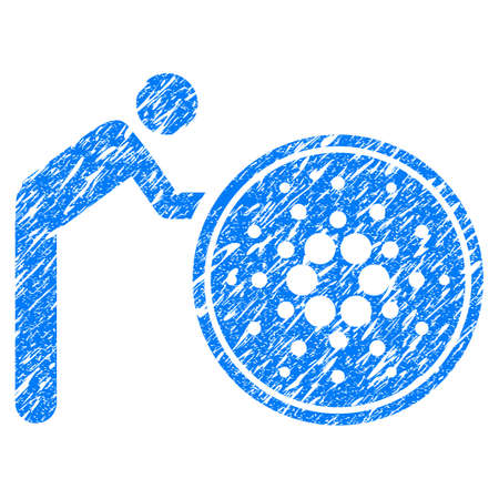 Grunge Person Rolling Cardano Coin rubber seal stamp watermark. Icon symbol with grunge design and scratched texture. Unclean vector blue sticker.