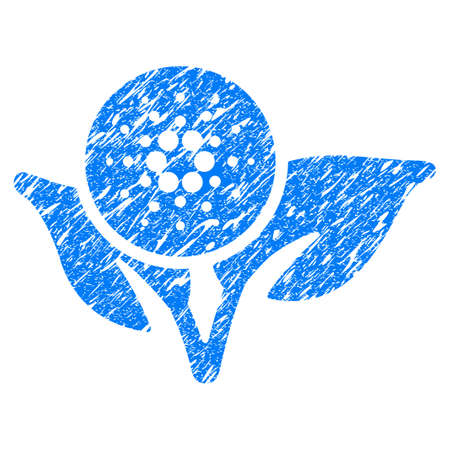 Grunge Cardano Eco Startup rubber seal stamp watermark. Icon symbol with grunge design and dirty texture. Unclean vector blue sign.