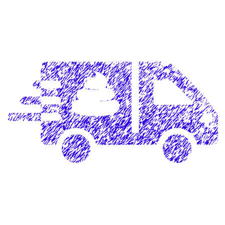 Grunge Express Manure Delivery rubber seal stamp watermark. Icon symbol with grunge design and scratched texture. Unclean vector blue sign. Illusztráció