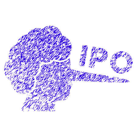 Grunge IPO Lier rubber seal stamp watermark. Icon symbol with grunge design and scratched texture. Unclean vector blue emblem. Illustration