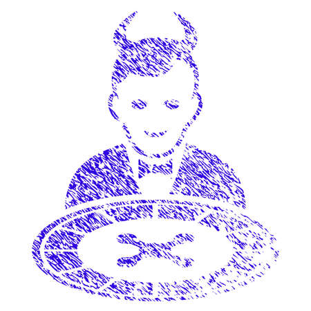 Grunge Devil Roulette Dealer rubber seal stamp watermark. Icon symbol with grunge design and dust texture. Unclean vector blue sticker.