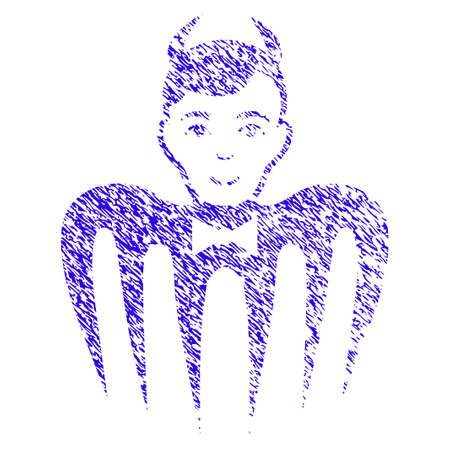 Grunge Manager Spectre Devil rubber seal stamp watermark. Icon symbol with grunge design and scratched texture. Unclean vector blue sticker. Illustration