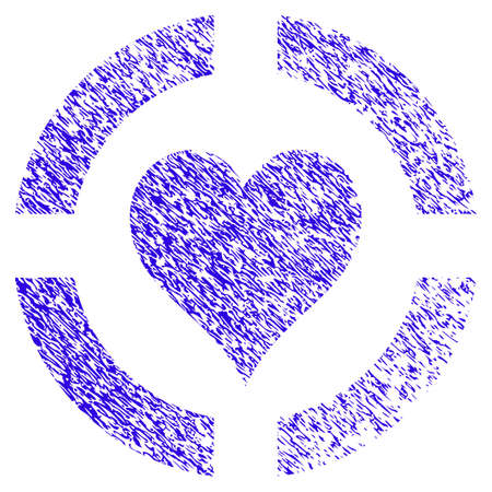 Grunge Casino Hearts Suit rubber seal stamp watermark. Icon symbol with grunge design and dust texture. Unclean vector blue emblem. Illustration