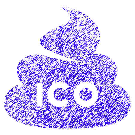 Grunge ICO Shit rubber seal stamp watermark. Icon symbol with grunge design and dust texture. Unclean vector blue sticker.