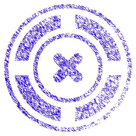 Grunge Roulette rubber seal stamp watermark. Icon symbol with grunge design and dust texture. Unclean vector blue sign.