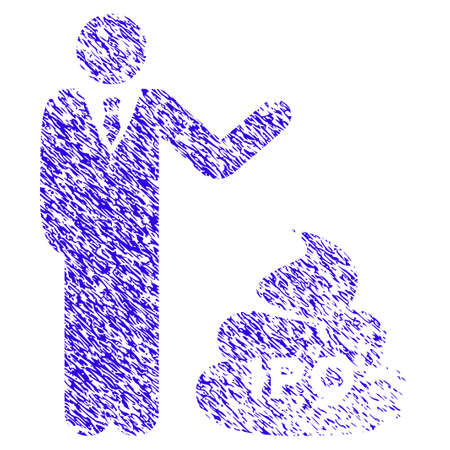 Grunge Businessman Show IPO Shit rubber seal stamp watermark. Icon symbol with grunge design and unclean texture. Unclean vector blue emblem.