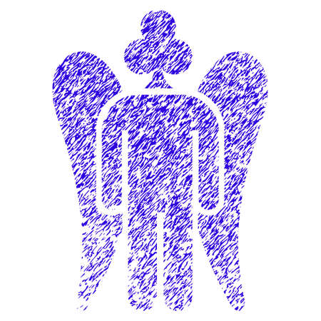Grunge Gambling Angel rubber seal stamp watermark. Icon symbol with grunge design and scratched texture. Unclean vector blue emblem. Illustration