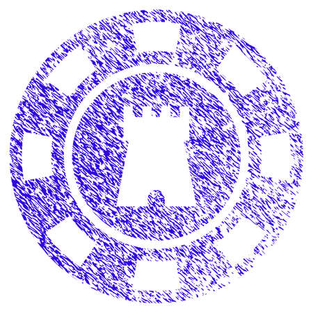Grunge Bulwark Casino Chip rubber seal stamp watermark. Icon symbol with grunge design and unclean texture. Unclean raster blue sign. Stock Photo