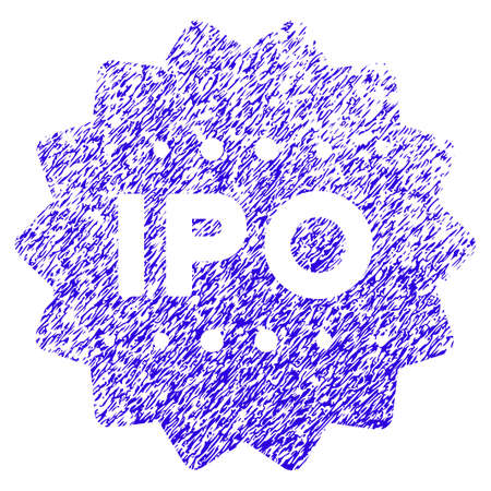 Grunge IPO Token rubber seal stamp watermark. Icon symbol with grunge design and scratched texture. Unclean raster blue sign. Stock Photo