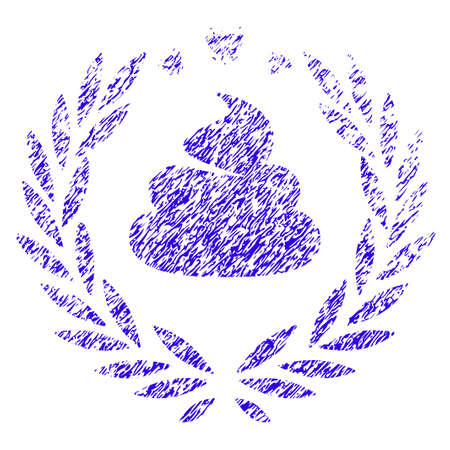 Grunge Shit Laurel Emblem rubber seal stamp watermark. Icon symbol with grunge design and scratched texture. Unclean raster blue emblem.