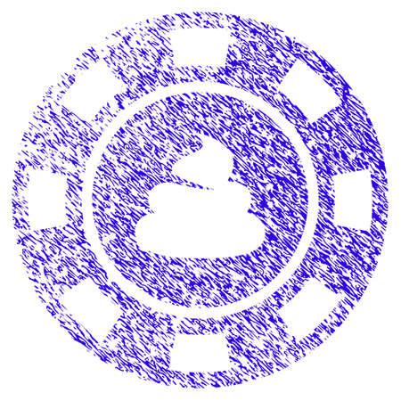 Grunge Shit Casino Chip rubber seal stamp watermark. Icon symbol with grunge design and unclean texture. Unclean raster blue sign. Stock Photo