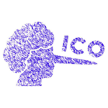 Grunge ICO Lier rubber seal stamp watermark. Icon symbol with grunge design and dust texture. Unclean raster blue sign.