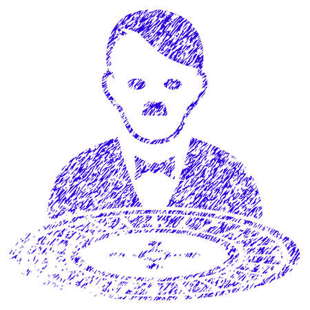 Grunge Hitler Roulette Croupier rubber seal stamp watermark. Icon symbol with grunge design and scratched texture. Unclean raster blue sticker.