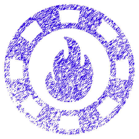 Grunge Fire Casino Chip rubber seal stamp watermark. Icon symbol with grunge design and unclean texture. Unclean raster blue emblem.