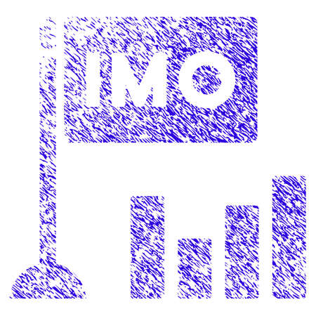 Grunge IMO Bar Chart rubber seal stamp watermark. Icon symbol with grunge design and dust texture. Unclean raster blue sticker.