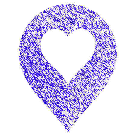 Grunge Heart Casino Marker rubber seal stamp watermark. Icon symbol with grunge design and dust texture. Unclean raster blue emblem.