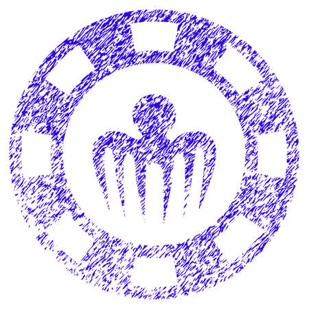 Grunge Monster Casino Chip rubber seal stamp watermark. Icon symbol with grunge design and dirty texture. Unclean raster blue sticker.
