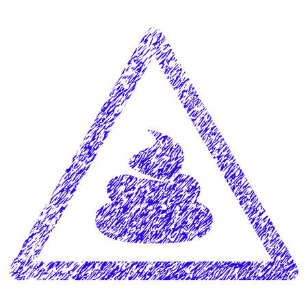 Grunge Shit Warning rubber seal stamp watermark. Icon symbol with grunge design and scratched texture. Unclean raster blue emblem. Stock Photo