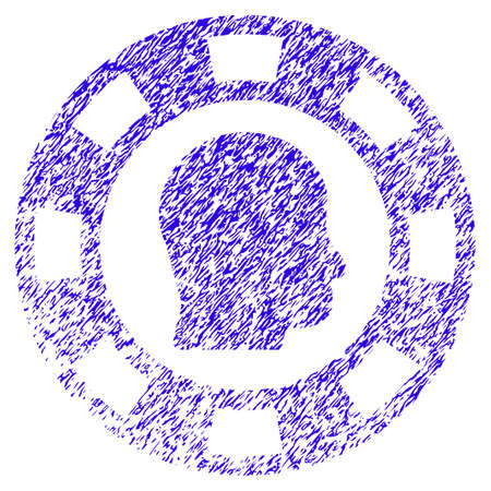 Grunge Personal Casino Chip rubber seal stamp watermark. Icon symbol with grunge design and scratched texture. Unclean raster blue emblem. Stock Photo