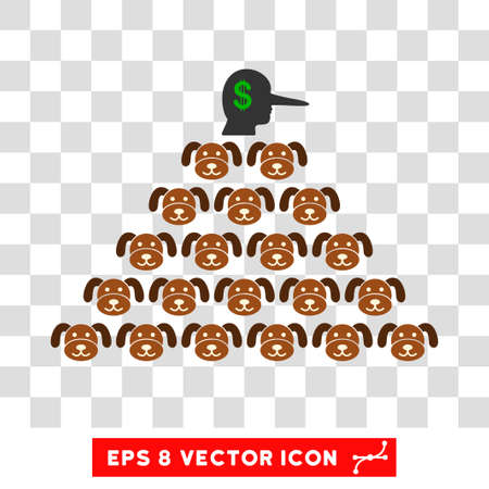 Puppycoin Pyramid Scammer EPS vector icon. Illustration style is flat iconic symbol on chess transparent background. Vectores