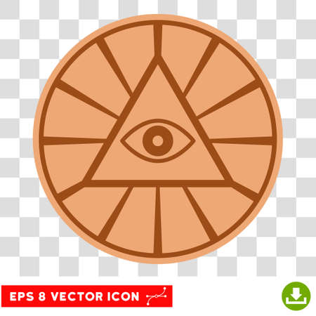 Pyramid Eye EPS vector pictogram. Illustration style is flat iconic symbol on chess transparent background.