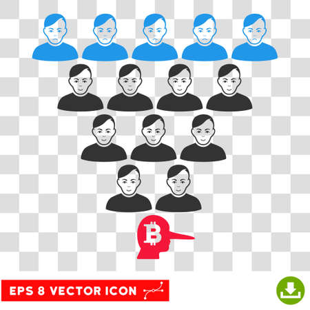 Bitcoin Ponzi Pyramid Manager EPS vector pictogram. Illustration style is flat iconic symbol on chess transparent background. Illustration