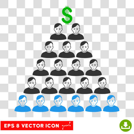 Ponzi Pyramid Scheme EPS vector icon. Illustration style is flat iconic symbol on chess transparent background.