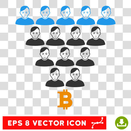 Bitcoin Ponzi Pyramid EPS vector pictogram. Illustration style is flat iconic symbol on chess transparent background. Illustration