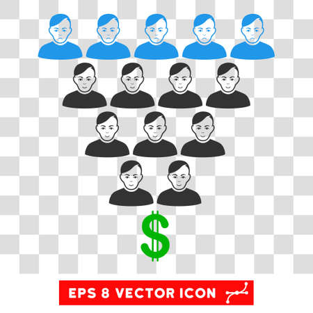 Ponzi Pyramid Scheme EPS vector pictogram. Illustration style is flat iconic symbol on chess transparent background. Illustration