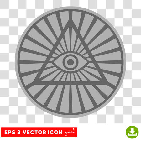 Pyramid Eye EPS vector pictograph. Illustration style is flat iconic symbol on chess transparent background. Illustration