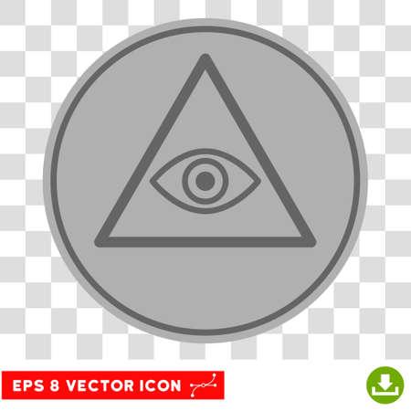Pyramid Eye EPS vector icon. Illustration style is flat iconic symbol on chess transparent background.