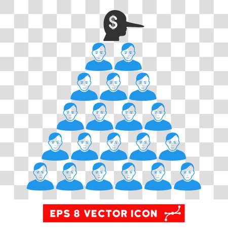 Ponzi Pyramid Manager EPS vector pictogram. Illustration style is flat iconic symbol on chess transparent background. Stock Illustratie