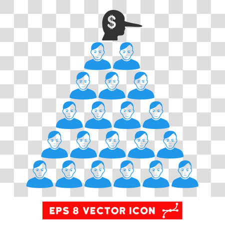 Ponzi Pyramid Manager EPS vector pictogram. Illustration style is flat iconic symbol on chess transparent background. Ilustração