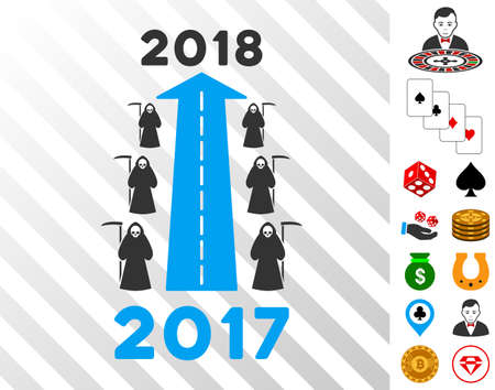 2018 Scytheman Future Road pictograph with bonus gamble clip art. Vector illustration style is flat iconic symbols. Designed for gamble apps. Illustration
