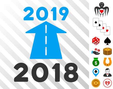 2019 Future Road pictograph with bonus gambling symbols. Vector illustration style is flat iconic symbols. Designed for gambling gui. Illustration