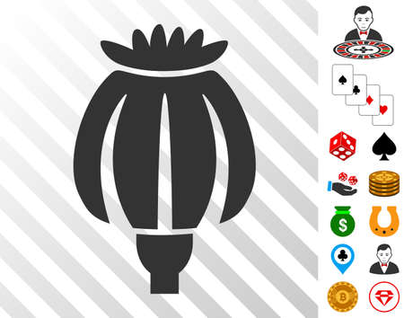 Opium Poppy icon with bonus gambling pictographs. Vector illustration style is flat iconic symbols. Designed for gambling software.