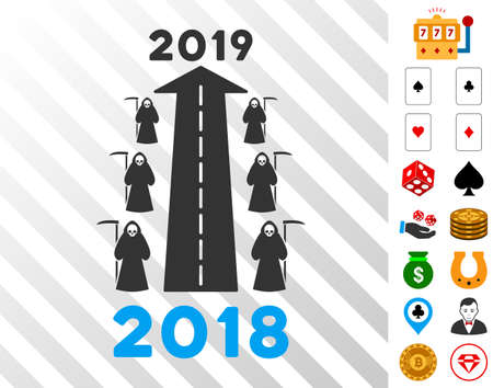 2019 Scytheman Future Road pictograph with bonus gambling clip art. Vector illustration style is flat iconic symbols. Designed for gamble ui.