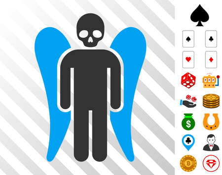 Death Angel icon with bonus gamble symbols. Vector illustration style is flat iconic symbols. Designed for gambling ui. Illustration